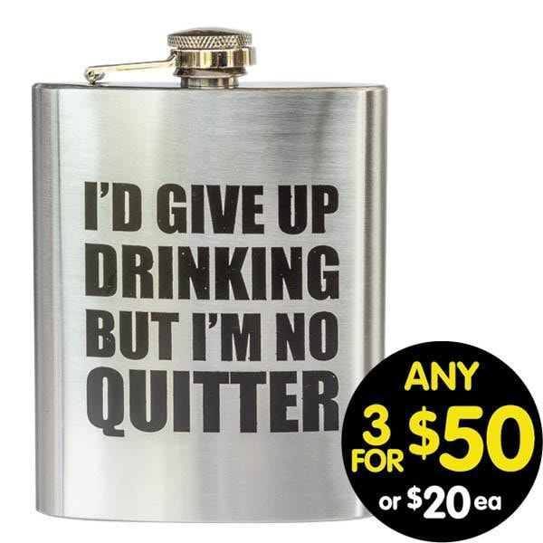 Hip Flask Give Up Drinking 7oz