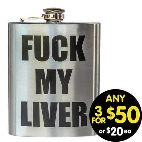 Hip Flask My Liver 7oz