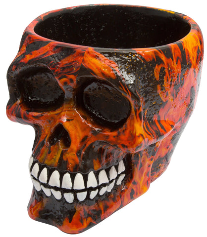 Decor Skull Bowl Flames