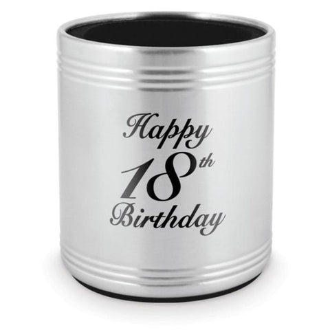 STUBBY HOLDER 18TH BIRTHDAY - STAINLESS STEEL