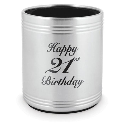 STUBBY HOLDER 21ST BIRTHDAY - STAINLESS STEEL