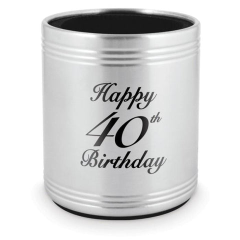 STUBBY HOLDER 40TH BIRTHDAY - STAINLESS STEEL