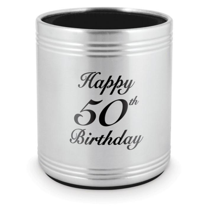 STUBBY HOLDER 50TH BIRTHDAY - STAINLESS STEEL