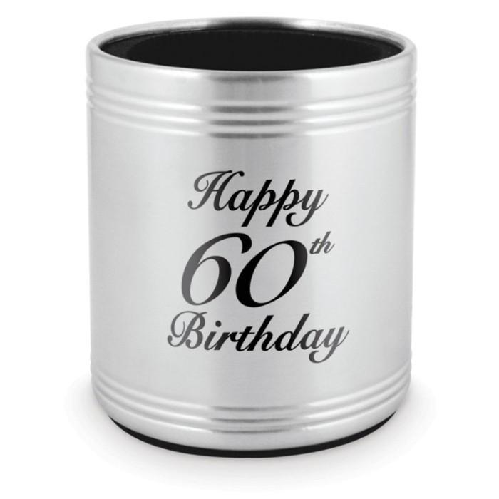 STUBBY HOLDER 60TH BIRTHDAY - STAINLESS STEEL