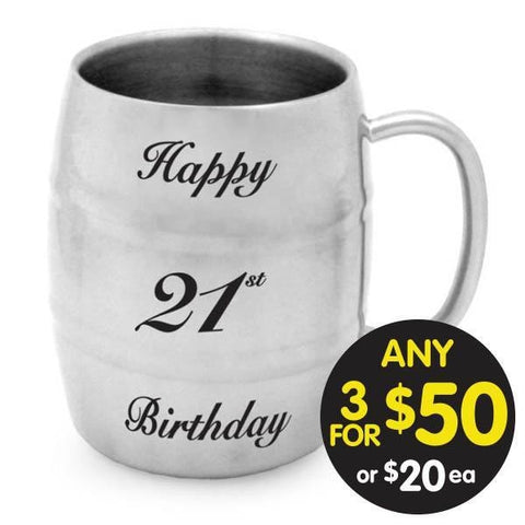BARREL MUG 21st BIRTHDAY STAINLESS STEEL