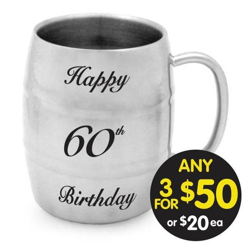 BARREL MUG 60th BIRTHDAY STAINLESS STEEL