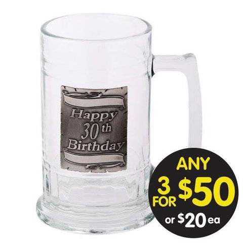 BEER MUG GLASS 30TH BIRTHDAY SILVER PARCHMENT BADGE