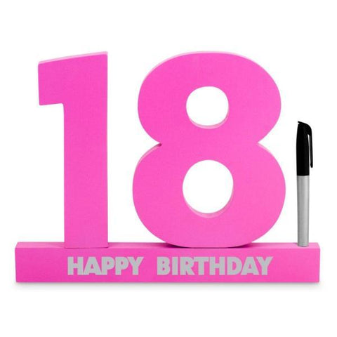 SIGNATURE NUMBER 18TH BIRTHDAY PINK