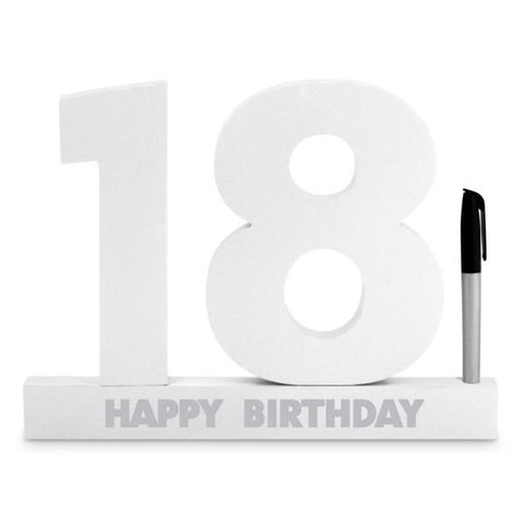 SIGNATURE NUMBER 18TH BIRTHDAY WHITE