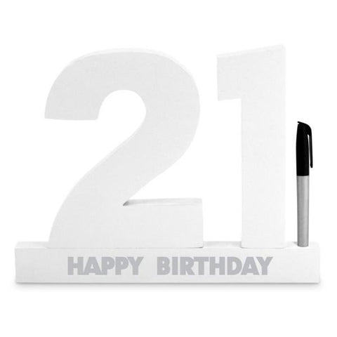 SIGNATURE NUMBER 21ST BIRTHDAY WHITE