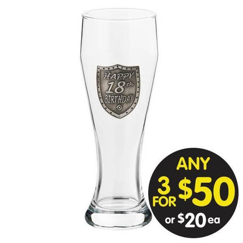 PILSNER GLASS 18TH BIRTHDAY SILVER SHIELD BADGE