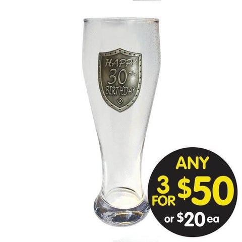 PILSNER GLASS 30TH BIRTHDAY SILVER SHIELD BADGE