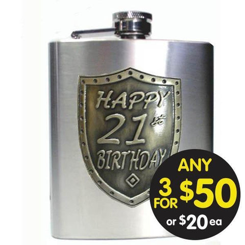 HIP FLASK 21ST BIRTHDAY SATIN SILVER SHIELD BADGE