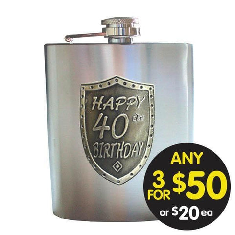 HIP FLASK 40TH BIRTHDAY SATIN SILVER SHIELD BADGE