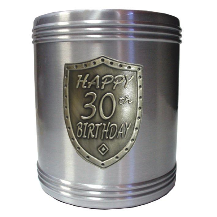 Stubby holder 30th birthday silver shield badge