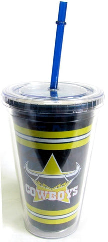 NRL TUMBLER WITH STRAW COWBOYS
