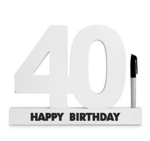 SIGNATURE NUMBER 40TH BIRTHDAY WHITE