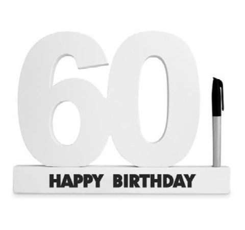 SIGNATURE NUMBER 60TH BIRTHDY WHITE