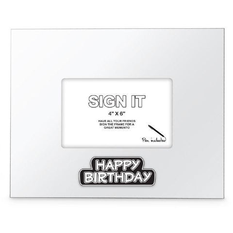 PHOTO FRAME HAPPY BIRTHDAY WHITE SIGN IT