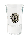 SHOT GLASS PREMIUM 18TH SILVER BADGED