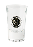 SHOT GLASS PREMIUM 21ST SILVER BADGED