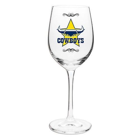 NRL WINE GLASS 470ML COWBOYS