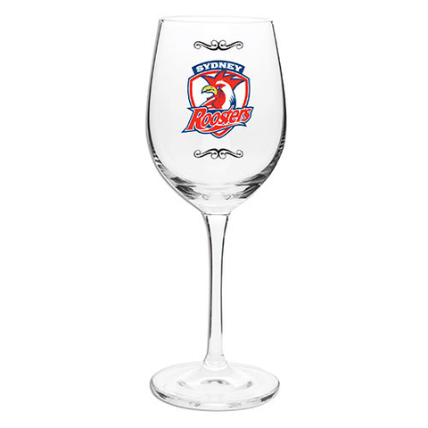 NRL WINE GLASS 470ML ROOSTERS