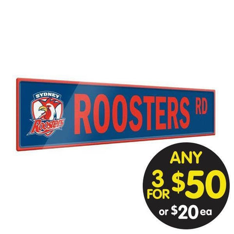 NRL TIN SIGN STREET ROOSTERS