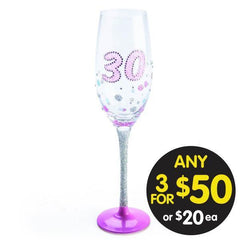 CHAMPAGNE FLUTE 30TH BIRTHDAY SPARKLE