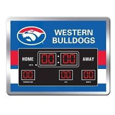 AFL CLOCK SCOREBOARD LED 48X36CM BULLDOGS
