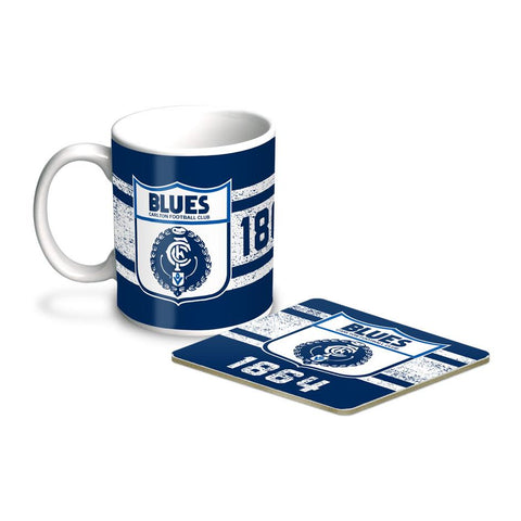 AFL COFFEE MUG AND COASTER SET CARLTON