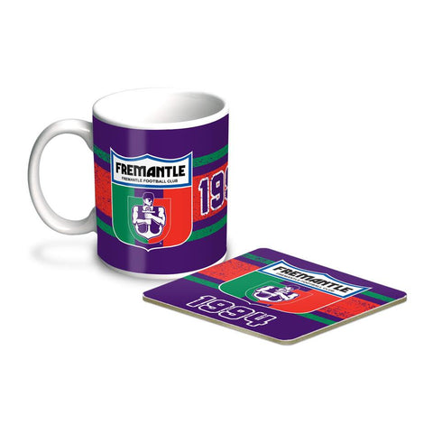 AFL COFFEE MUG AND COASTER SET FREMANTLE
