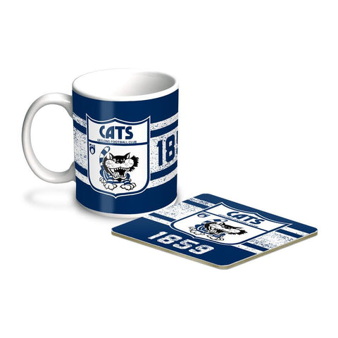 AFL Coffee Mug & Coaster Set Geelong