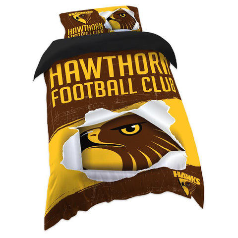 AFL QUILT COVER SINGLE SIZE HAWTHORN