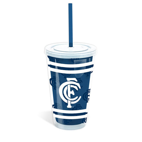 AFL CARLTON TUMBLER WITH STRAW