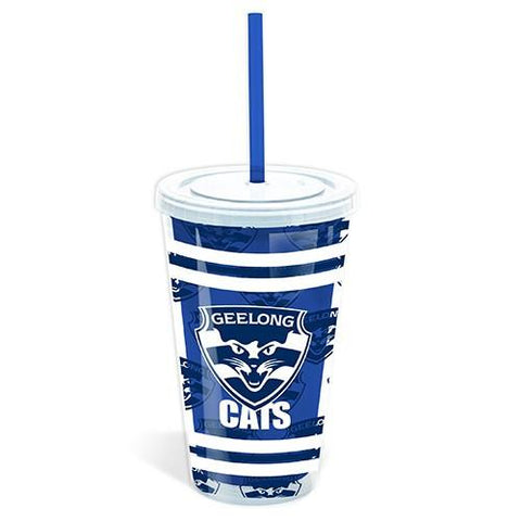AFL TUMBLER WITH STRAW GEELONG