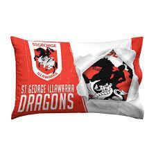 NRL PILLOW CASE 73X48CM DRAGONS