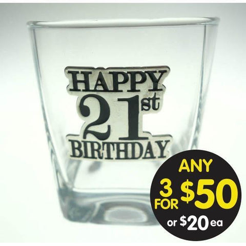 SPIRIT GLASS 21ST BADGED