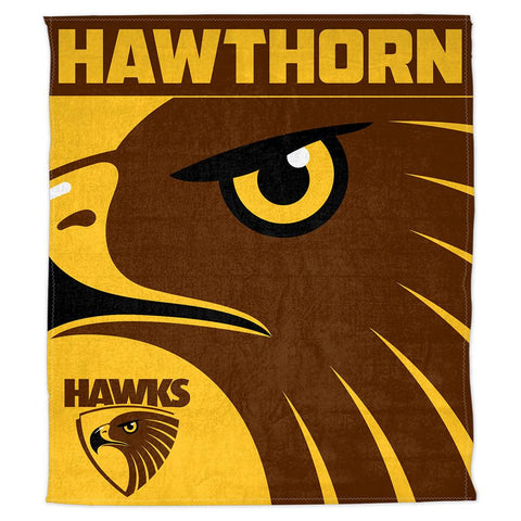 AFL THROW RUG POLAR FLEECE 150X130CM HAWTHORN