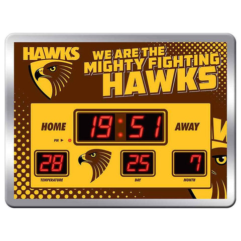 AFL Clock Scoreboard Team Song 45X33Cm Hawthorn