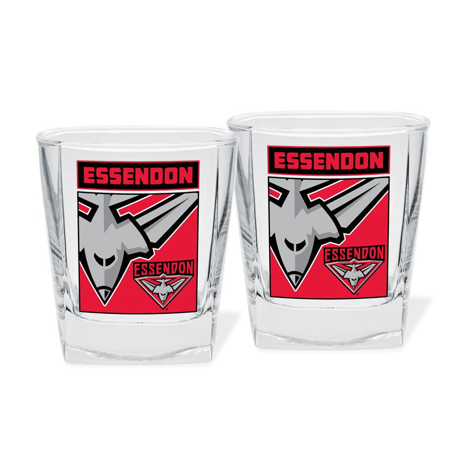 AFL Spirit Glasses Set Of 2 Essendon