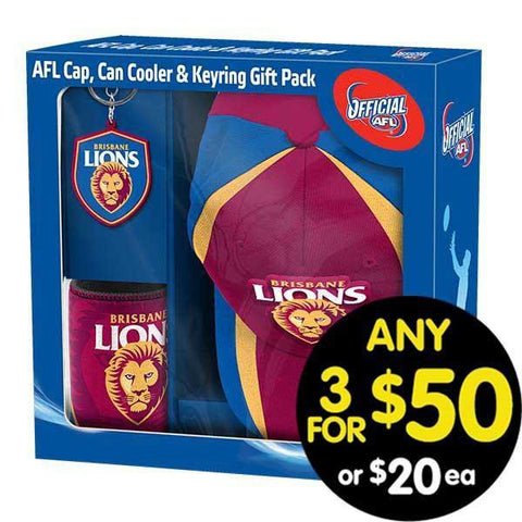 AFL Gift Pack Cap Keyring and Can Cooler Brisbane