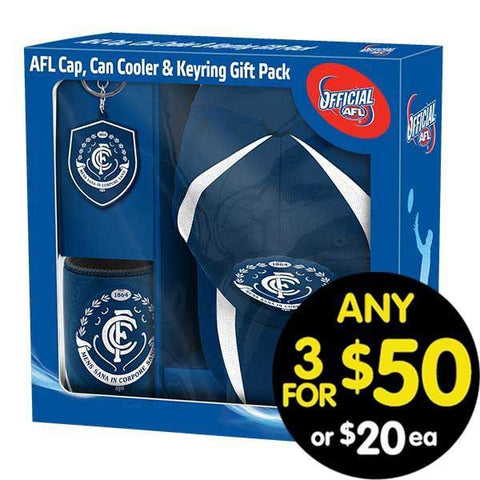 AFL Gift Pack Cap Keyring and Can Cooler Carlton