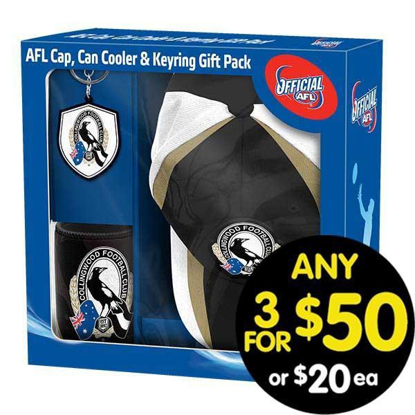 AFL Gift Pack Cap Keyring and Can Cooler Collingwood