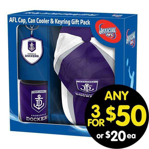 AFL Gift Pack Cap Keyring and Can Cooler Fremantle