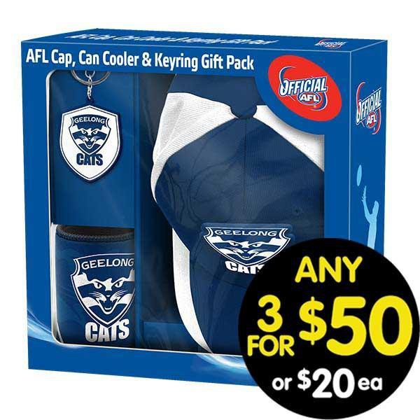 AFL Gift Pack Cap Keyring and Can Cooler Geelong