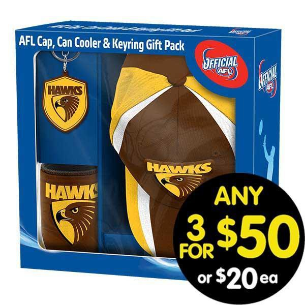 AFL Gift Pack Cap Keyring and Can Cooler Hawthorn