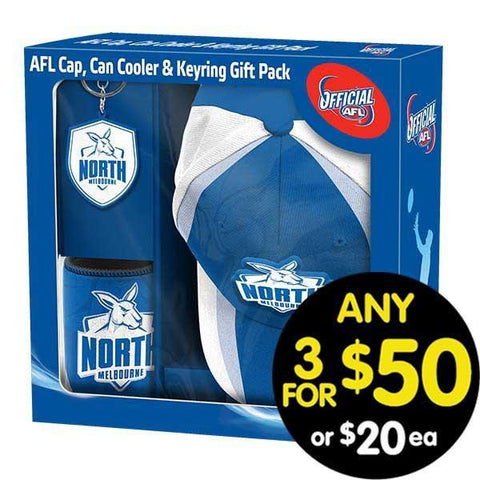 AFL Gift Pack Cap Keyring and Can Cooler Kangaroos