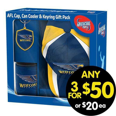 AFL Gift Pack Cap Keyring and Can Cooler West Coast