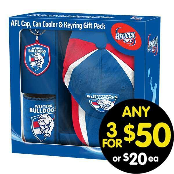 AFL Gift Pack Cap Keyring and Can Cooler Bulldogs